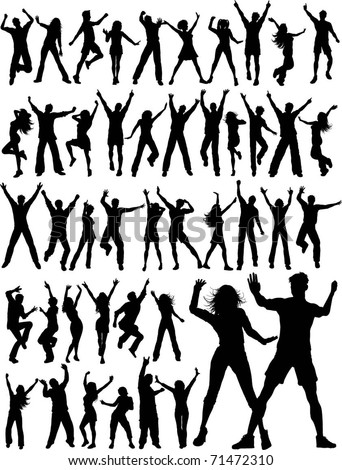 Huge collection of silhouettes of people dancing