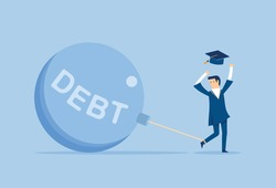 Huge debts accumulated after graduation, Vector illustration in flat style