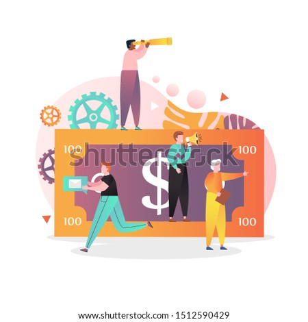 Huge dollar banknote and tiny people promoters with megaphone, telescope, mail speech bubble, folder with documents, vector illustration. Bank account promotions and offers, investing money.
