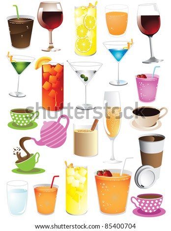 Huge drinks collection More than 20 different drinks. Grouped for easy editing.  EPS 8 vector with no open shapes, strokes or transparencies.