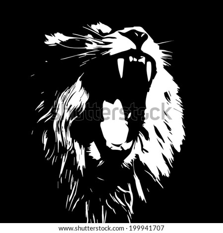 Huge fangs of an Asian lion, isolated on black background. The King of beasts, biggest cat of the world. The most dangerous predator of the world with open chaps. Black and white vector image.