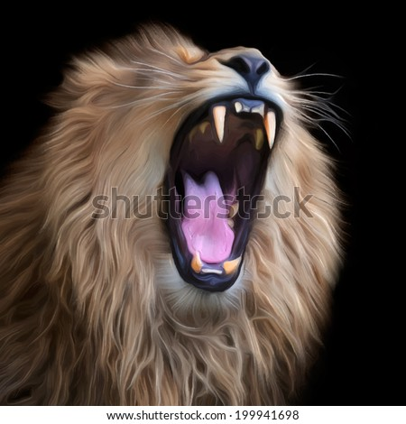 huge fangs of asian lion