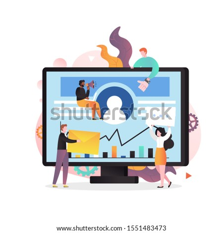 Huge laptop and micro business people characters with envelope, message bubble, thumbs up like symbol, megaphone, vector illustration. Digital viral, social media marketing, email marketing campaign.