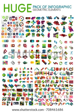 Huge mega pack of infographic option menu layouts, geometric backgrounds and templates design elements for web banner, advertising presentation and promotional message. Vector Illustration for your