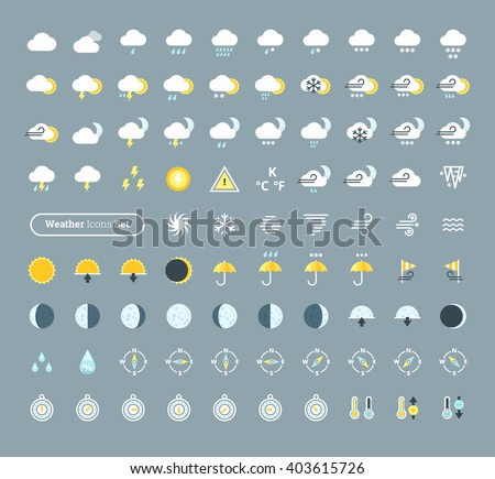 Huge pack of weather icons. Weather forecast design elements for mobile apps and widgets.