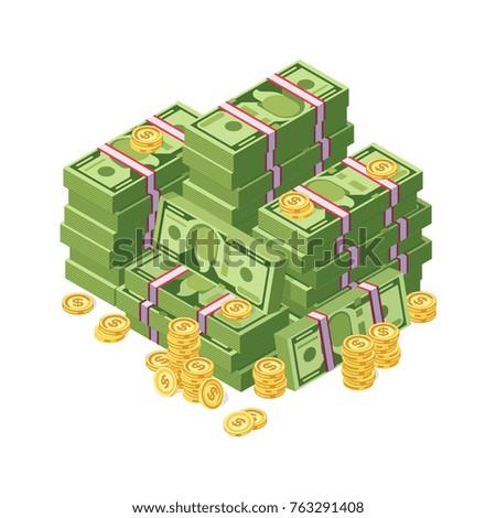 huge pile of dollar cash money