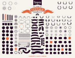 Huge Premium design elements. Great for retro vintage logos. Starbursts, frames and ribbons Designers Collection