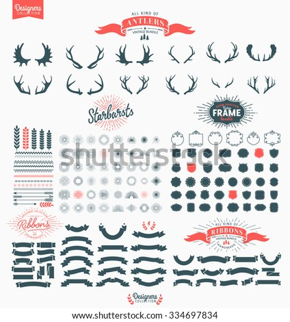 Huge Premium design elements. Great for retro vintage logos. Starbursts, frames and ribbons - Designers Collection