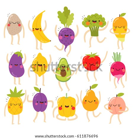 huge set of cute vegetables and fruits with funny faces on white background. funny vegetables and fruits set. can be used for greeting cards or posters