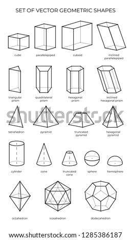 Huge set of 3D geometric shapes. Vector outline objects isolated on a white background. The science of math and geometry.