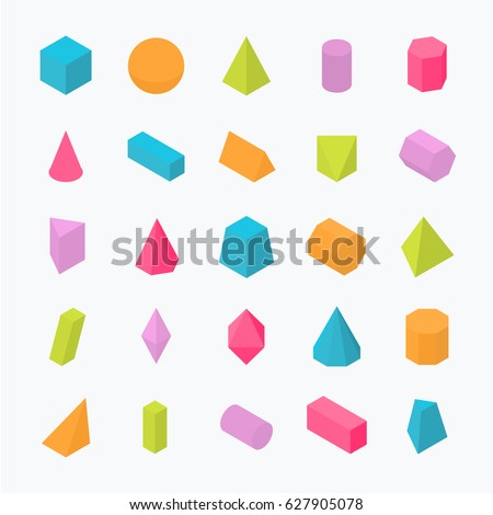 Huge set of 3D geometric shapes with isometric views. Vector flat objects isolated on a light background. The science of math and geometry.