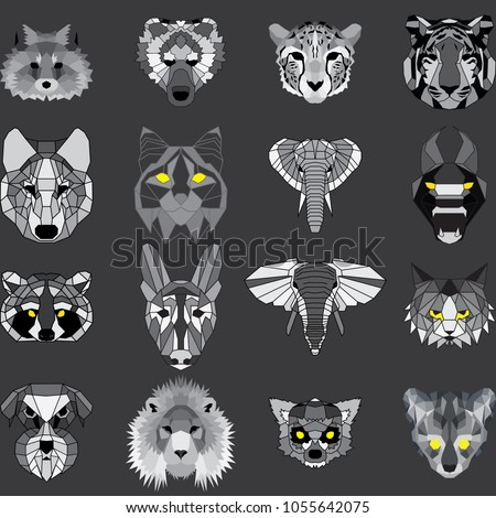 huge set of geometric animals