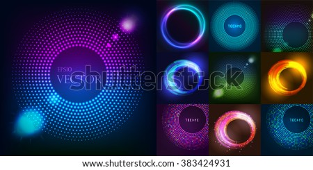 Huge set of glowing rounds with glitter. Abstract colored shape for your business idea vector editable logotypes background illustration.