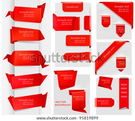 Huge set of red origami paper banners and stickers. Vector illustration.