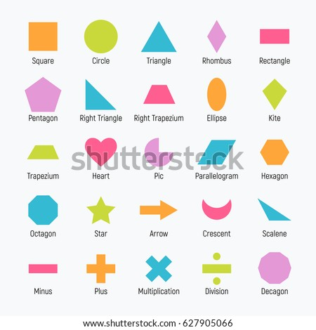 Huge set of vector shapes design: square, circle, triangle, rhombus, rectangle, pentagon, ellipse, kite, trapezium, heart, parallelogram, hexagon, octagon, star, arrow, crescent, scalene, minus, plus