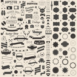 Huge set of Vintage Styled design Hipster Icons Vector Signs and Symbols Templates for Design Largest set of Icons, gadgets, sunglasses, mustache, ribbons infographcs element. Wedding Styling Elements