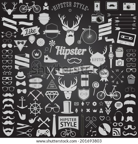 Huge set of vintage styled design hipster icons Vector signs and symbols templates for your design.The largest set of bicycle phone gadgets sunglasses mustache anchor ribbons and other things