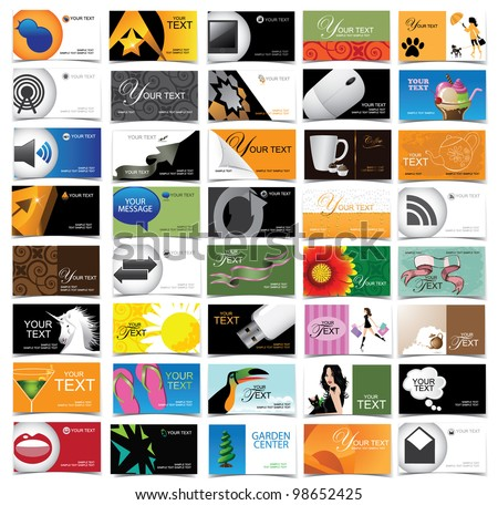 Huge variety of business cards with icons and symbols Set of 40 different business card designs. EPS 8 vector, no open shape for paths. - stock vector