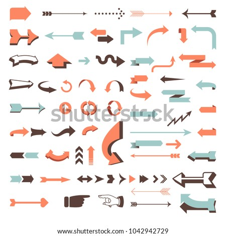 Huge Vector Arrow Set - 70 vector arrow designs in retro and modern styles.