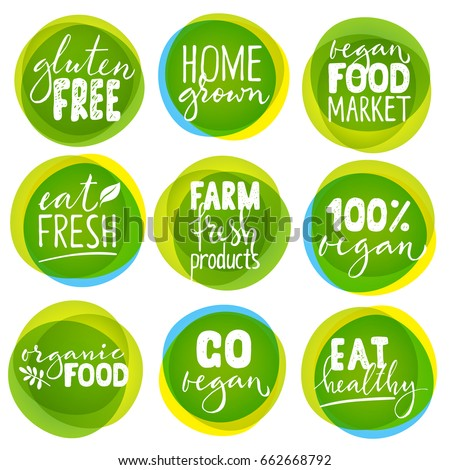 Huge vector set of vegetarian labels with lettering. Vegan food stickers.