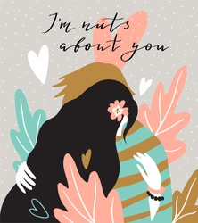Hugging couple on the natural background with big leaves. Valentine's Day card. Cute couple in love. Vector illustration in hand drawn style.