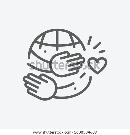 hugging day icon line symbol