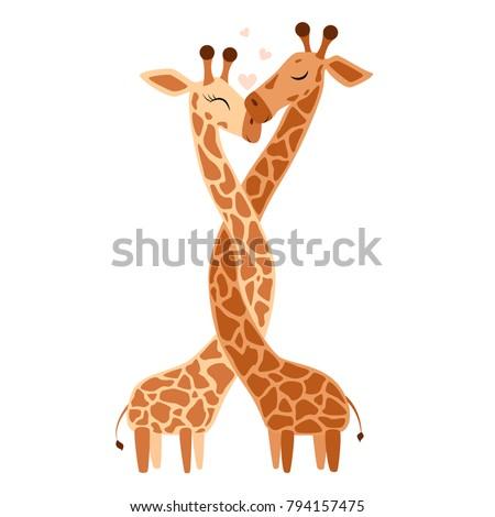 Hugging Giraffe Postcard Vector illustration