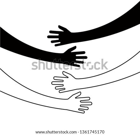 Hugging hands. Arm embrace, belief togetherness unique relationship hugged hands vector isolated concept