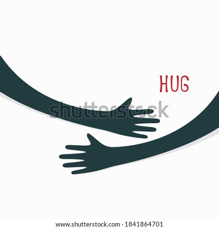 Hugging hands. Arm embrace, relationship hugged hands Stockfoto ©