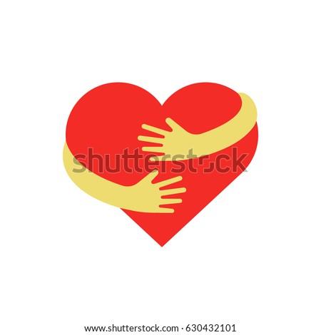 Hugging heart symbol. Hug yourself logo. Love yourself vector flat illustration.