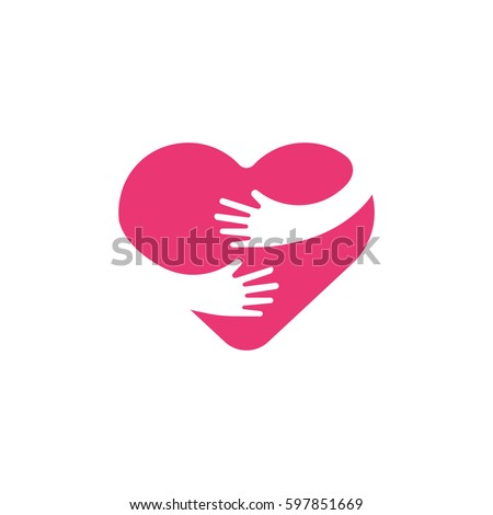 Hugging heart symbol, hug yourself , love yourself. Heart and hands illustration.
