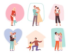 Hugging kids. Parents embrace their children. Happy family characters comforted talking mother father and baby vector group
