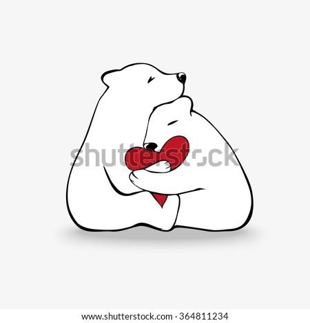 hugging polar bears in love