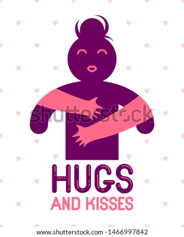 Hugs and kisses with loving hands of beloved person and kissing lips, lover woman hugging her mate and shares love, vector icon logo or illustration in simplistic symbolic style.