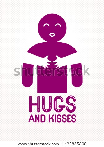 Hugs and kisses with loving hands of beloved person and kissing lips, lover woman hugging his man and shares love, vector icon logo or illustration in simplistic symbolic style.