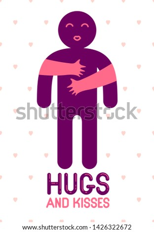 Hugs and kisses with loving hands of loved person and kissing lips, lover woman hugging his man and shares love, vector icon logo or illustration in simplistic symbolic style.