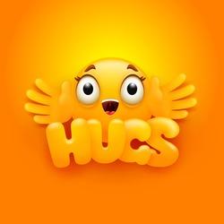 Hugs card. Yellow emoji character in cartoon 3d style. Vector illustration