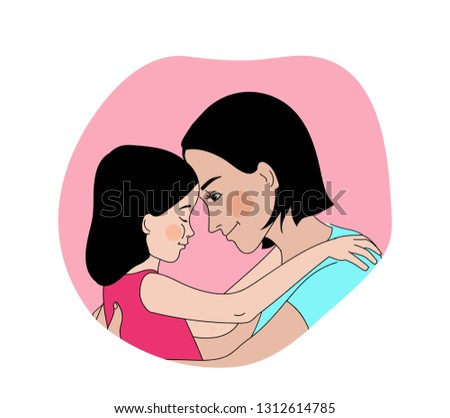 Hugs. Mother and daughter warmly embracing. Mother comforting her child. Soothing hug. Vector illustration.
