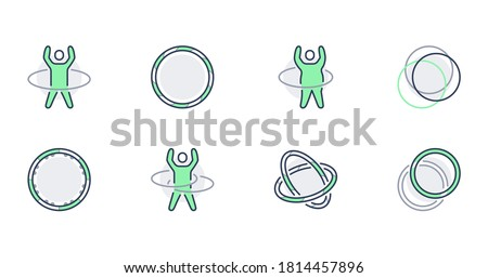 Hula hoop line icons. Vector illustration including happy child with hula hoop, fat man exercise outline pictogram for gym. Green color, Editable Stroke.