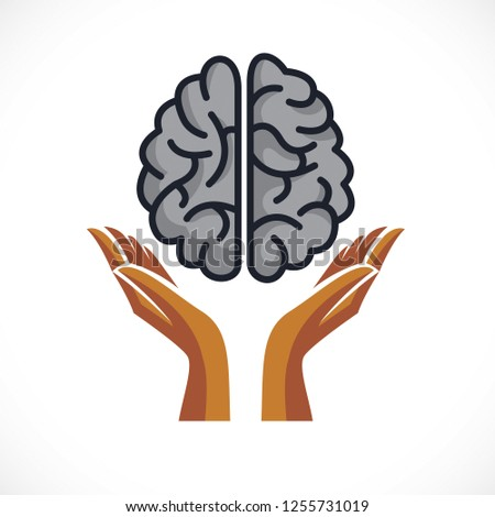 Human anatomical brain with tender guarding hands, mental health psychology conceptual logo or icon, protection of individuality and education. Vector simple classic design.
