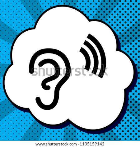 Human anatomy. Ear sign with soundwave. Vector. Black icon in bubble on blue pop-art background with rays.