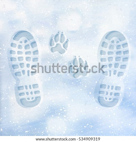 human and dog footprints on