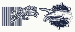 Human and robot's hands tattoo. Symbol of spirituality, religion, connection and interaction, people and artificial intelligence t-shirt design