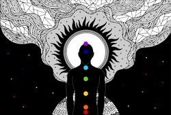 human and spirit energy connect to the universe power abstract art vector illustration design hand drawing