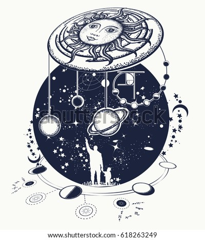 Shutterstock Human and Universe tattoo art. Symbol solar system, science, religion, astrology, astronomy. Boundless Universe, planets and stars t-shirt design. Father teaches the son to space riddles tattoo