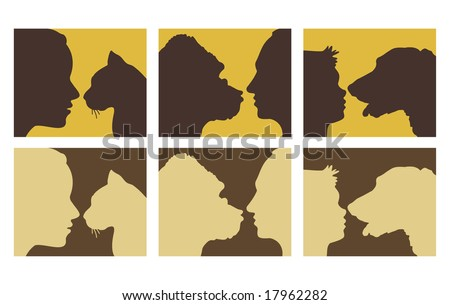 human & animals silhouettes