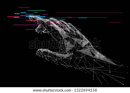 Human arm or hand or palm is touching something. Low poly white metal mash on black. Polygonal abstract illustration. Isolated digital vector illustration  in RGB with glitch effect