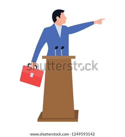Human avatar on a podium, icon of orator