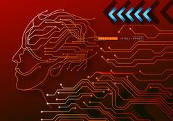 Human Big data visualization. Futuristic Artificial intelligence concept. Cyber mind and circuit board human brain. Concept illustration Electronic chip in form of human brain in electronic cyberspace