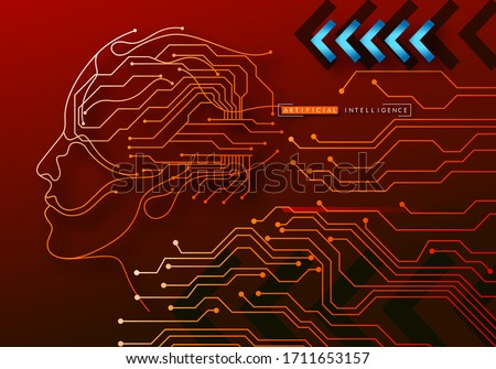 Human Big data visualization. Futuristic Artificial intelligence concept. Cyber mind and circuit board human brain. Concept illustration Electronic chip in form of human brain in electronic cyberspace